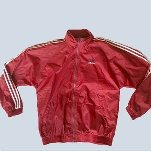 Adidas Vintage Red and White Windbreaker Size la